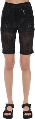 we11done Glittered Mesh Biker Shorts