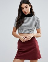 Glamorous Knitted High Neck Crop Top