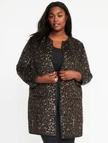 Old Navy Leopard-Print Plus-Size Open-Front Cardi-Coat