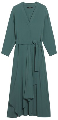 Max Mara Crepe de Chine Wrap Midi Dress