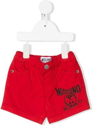 Moschino Kids question mark logo denim shorts
