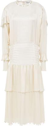 Lanvin Tiered Shantung-paneled Embellished Silk-satin Midi Dress