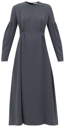 Emilia Wickstead Cerise Balloon-sleeve Pebbled-crepe Dress - Dark Grey