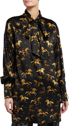 Ganni Horse Print Silk Stretch Satin Mini Shirtdress