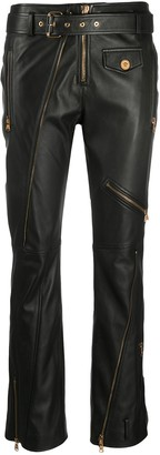 Versace Zip-Detailing Leather Trousers