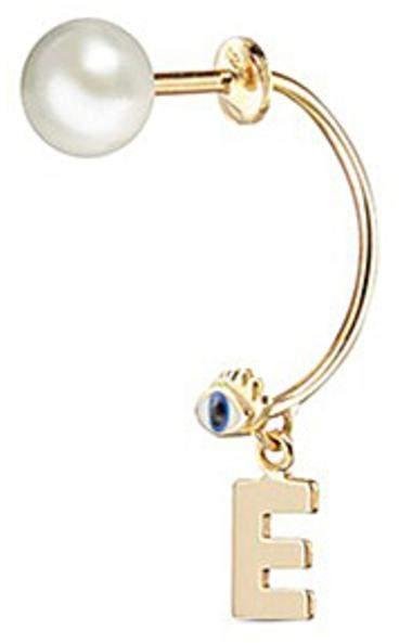 Delfina Delettrez 'ABC Micro Eye Piercing' freshwater pearl 18k yellow gold single earring - E