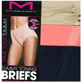 Maidenform Ladies Tummy Toning Briefs 3 Pack (2X-Large, Latte Lift. Strawberry Ice. Navy.)