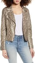 Vigoss Snake Print Faux Leather Moto Jacket
