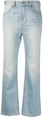 Victoria Victoria Beckham Mid-Rise Light-Wash Flared Jeans