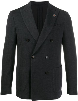 Lardini Herringbone Double-Breasted Blazer