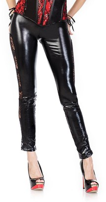 Coquette Women's Darque Wet Look Legging with Lace Sides