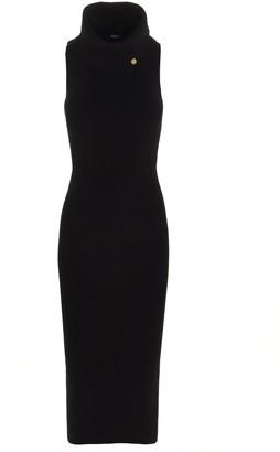 Balmain Turtleneck Sleeveless Midi Dress