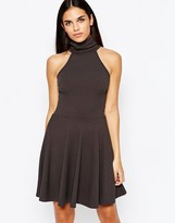 Club L Essentials High Neck Skater Dress In Rib