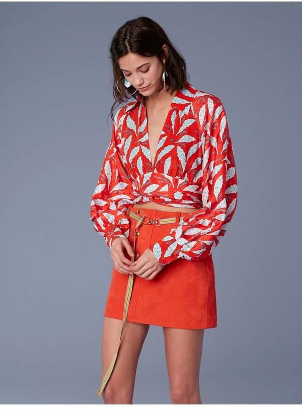 Diane von Furstenberg Long-Sleeve Collared Waist Tie Blouse
