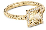 David Yurman Petite Chatelaine Pave Bezel Ring in 18K Yellow Gold with Champagne Citrine