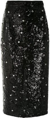 No.21 Crystal-Embellished Sequin Pencil Skirt