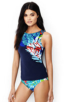 Lands' End Women's High-neck Tankini Top-Deep Sea Placed Tropical Leaf