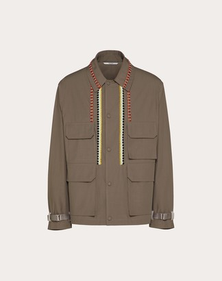 Valentino Cropped Jacket With Decorative Embroidery Man Light Brown 100% Cotone 44