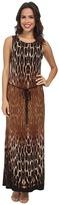 Christin Michaels Belted Animal Print Maxi Dress