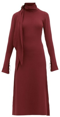 Ellery Emmersion Scarf-collar Midi Dress - Womens - Burgundy