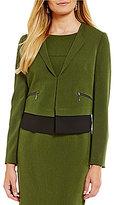 Kasper Cross Dye Stretch Crepe Zipper Detail Jacket