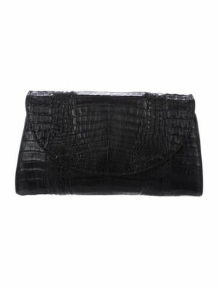 Rhonda Ochs Large Crocodile Clutch Black