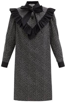 Batsheva Tie-neck Floral-print Cotton Dress - Black