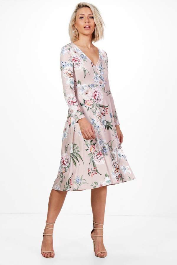 boohoo Charlie Floral Long Sleeve Wrap Midi Dress blush
