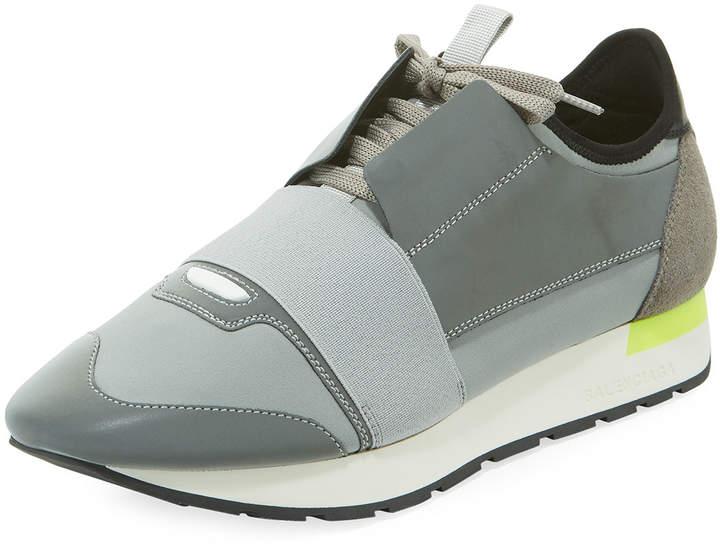 Balenciaga Men's Reflective Race Runner Mesh & Leather Sneakers, Gray