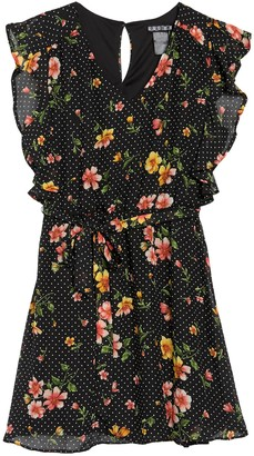 Just For Wraps Floral Dot Flutter Sleeve Fit & Flare Dress