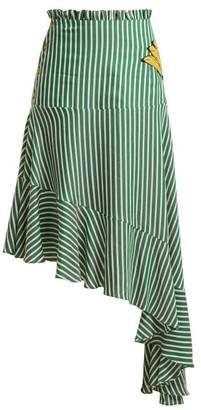Adriana Degreas Striped Asymmetric Skirt - Womens - Green Stripe