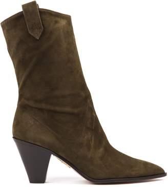 Aquazzura Cowboy Boogie Green Suede Boots