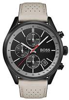 Hugo Boss Black-plated stainless-steel watch with beige perforated leather strap