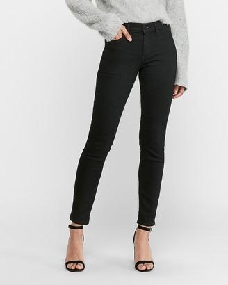 Express Mid Rise Black Cozy Fleece Jean Ankle Leggings