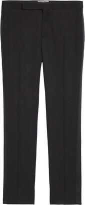 Saint Laurent Grain de Poudre Wool Tuxedo Pants