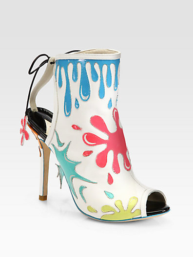 Webster Sophia Arty Party Paint Splatter Leather Ankle Boots