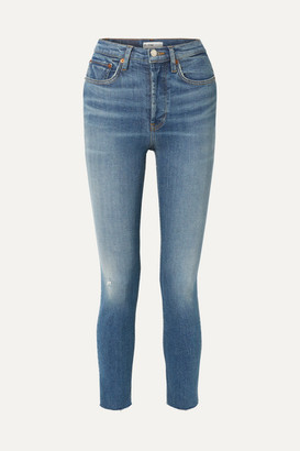 RE/DONE Originals High-rise Ankle Crop Distressed Skinny Jeans - Mid denim
