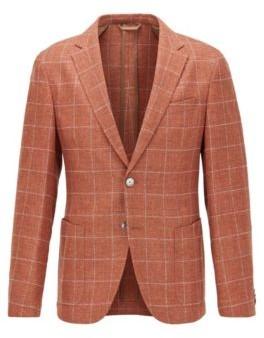 HUGO BOSS Slim-fit checked jacket in a virgin-wool blend
