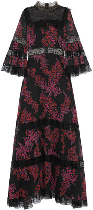 Giambattista Valli Paneled Chantilly Lace And Floral-print Silk-georgette Gown