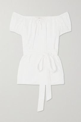 ARoss Girl x Soler Eliana Belted Swiss-dot Cotton-voile Top - White