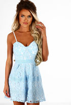 Pink Boutique In The Clouds Baby Blue Lace Skater Dress