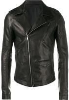 Rick Owens Black classic biker jacket - men - Cotton/Leather - 50