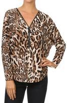 Ariella Leopard Zipper Top