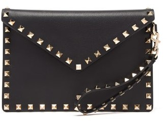 Valentino Rockstud Leather Wristlet Pouch - Womens - Black