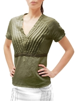 Julia Cocco' Green Button-front Short-sleeve Linen Tunic