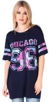 Clothing Women short-sleeved t-shirts Krisp Oversized Baseball T-shirt Blue Oversized Baseball T-shirt Blue