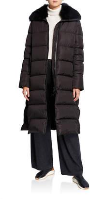 Yves Salomon Army By Long Side-Zip Puffer Coat w/ Fox Fur Trim