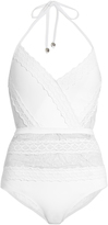 Zimmermann Zephyr lace and mesh insert halterneck swimsuit