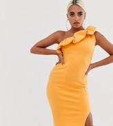 Asos DESIGN Petite one shoulder bubble midi bodycon dress