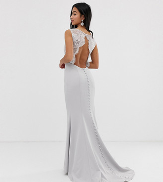 Jarlo Petite maxi dress with lace open back and train in silver gray